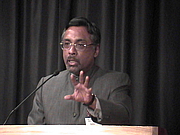 Author photo. Speaking at Nehru Centre, March 23, 2005.  Photo by Mark Kobayashi-Hillary, uploaded from Flickr. Photo source: http://www.flickr.com/photos/markhillary/300802903/in/photostream/