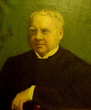 Author photo. Portrait of William Fiddian Moulton, currently hanging in the Vestry of the Moulton Memorial Chapel in the Leys School, Cambridge, UK. This photo of the portrait was taken on the occasion of the centennial commemorations of the Chapel by the great great great grandson of Moulton, James Clarke, on 13 October 2006.