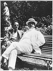 Author photo. Filippo Tommaso Emilio Marinetti (1876-1944), in white suit