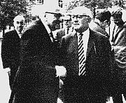 "Author photo. From <a href=""http://de.wikipedia.org/wiki/Bild:Adorno-Horkheimer.JPG"">Wikipedia</a>,  Horkheimer (front left), in 1965 at Heidelberg."