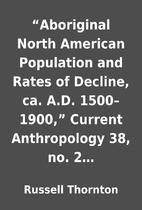 """Aboriginal North American Population and…"