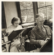 Author photo. Berta Hader (back) with husband and fellow author Elmer Hader