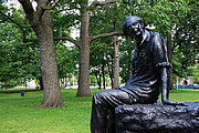 Author photo. Memorial statue of Alfred Purdy, in Toronto, by Edwin and Veronica Dam de Nogales. 2008
