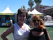 Author photo. RP Dahlke and author friend, Lala Corriere at Tucson Festival of Books, 2015