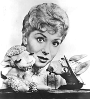 Author photo. Shari Lewis with her puppets Lambchop and Charlie Horse