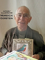 Author photo. Mordicai Gerstein, illustrator, holding 'How To Paint the Portrait of a Bird.' At the Baltimore Book Festival. ©2009