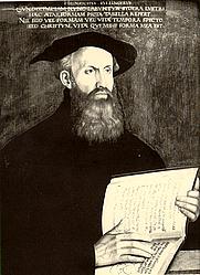 """Author photo. """"Heinrychus Bullingerus Undecimi iam ... mea est."""" Gemalt von Hans Asper (1499-1571)"""