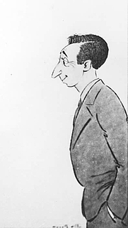 Author photo. Caricature by Wyncie King of Leo Gershoy,