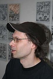 Author photo. Marcel Ruijters at his Inferno exposition in Lambiek.