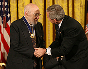 Author photo. Joshua Lederberg receiving the Presdential Medal of Freedom, 2006. White House photo by Eric Draper.