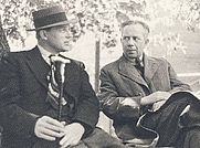 Author photo. Ivar Lo-Johansson (right) with Harry Martinson