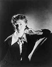Author photo. Marianne Moore (1887-1972)<br> Photographed by George Platt Lynes, circa 1935 <br>(Library of Congress Prints and Photographs Division, <br>Reproduction Number: LC-USZ62-101955)