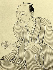 Author photo. Jippensha Ikku drawn by Kunisada(国貞)