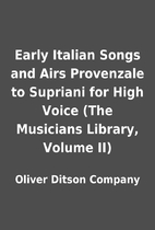 Early Italian Songs and Airs Provenzale to…