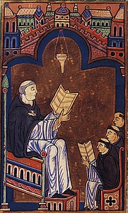 Author photo. Hugh of St. Victor with his monks, as depicted in a medieval manuscript.