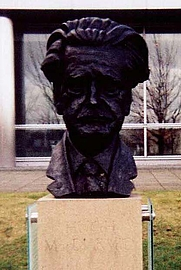 Author photo. Bust of Hugh MacDiarmid, South Gyle, Scotland.  Photo by user  MacRusgail / English Wikipedia.
