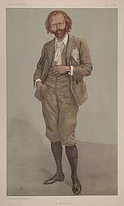"""Author photo. """"The Manxman"""" Caine as caricatured in Vanity Fair, July 1896"""