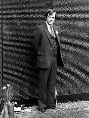 Author photo. Jan C. Scruggs, founder of the Vietnam Veterans Memorial, standing at the apex of the Wall. ..Credit: Dane A. Penland (Smithsonian Institution)