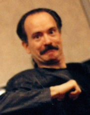 Author photo. Mark Gruenwald at a comic convention in NYC in the early 1990s, photo by Alex Louzupone