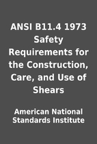 ANSI B11.4 1973 Safety Requirements for the…