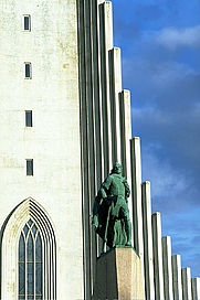 Author photo. Statue in front of the Hallgrímskirkja, Reykjavik, Iceland. Photo by <a href=&quot;http://commons.wikimedia.org/wiki/User:Tillea&quot;>Andreas Tille</a>.