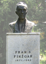 Author photo. Bust of Fran Saleški Finžgar, Doslovče, Slovenia.  Photo by  Matija Podhraški / Slovene Wikipedia.
