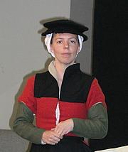 Author photo. Ninya Mikhaila, at the Tudor Tailor presentation, Vallejo, CA, 7/9/2007