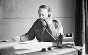 Author photo. Major-General Sir Francis de Guingand, Chief of Staff, 21st Army Group, at his desk, 1944