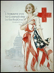 Author photo. American Red Cross recruiting poster by Harrison Fisher, 1918 <br>(LoC Prints and Photographs Division,<br> LC-USZC4-1281)
