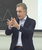 Author photo. Dr. Jordan Peterson delivering a lecture at the University of Toronto in 2017.