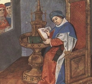 """Author photo. From <a href=""""http://en.wikipedia.org/wiki/Image:BodleianDouce195Folio1rGuillaumeDeLorris.jpg"""">Wikipedia</a>"""