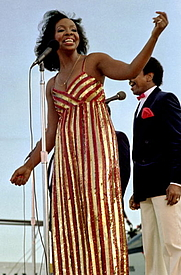 Author photo. Gladys Knight and the Pips perform aboard the aircraft carrier USS RANGER (Wikimedia Commons)