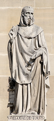 Author photo. Statue of Gregory of Tours, Cour Napoléon, the Louvre.  Photo by  Marie-Lan Nguyen / Wikimedia Commons.