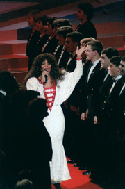 Author photo. Performing with the US Naval Academy<br>Glee Club during the Presidential Inaugural Gala. D.C. Convention Center, Jan. 19, 1985<br> (DoD photo b Spc. 5 B. Goulait, DA-SC-86-09041)
