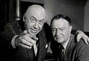 Author photo. John D. Voelker (right) and Otto Preminger in Anatomy of a Murder - trailer [credit: Columbia Pictures]