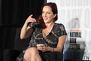 """Author photo. Rebecca Makkai gives a presentation on the Fiction Stage at the National Book Fstival, August 31, 2019. Photo by Ralph Small/Library of Congress. By Library of Congress Life - 20190831RS0067.jpg, CC0, <a href=""""https://commons.wikimedia.org/w/index.php?curid=82899195"""" rel=""""nofollow"""" target=""""_top"""">https://commons.wikimedia.org/w/index.php?curid=82899195</a>"""
