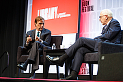 Author photo. Michael Beschloss speaks with David Rubenstein at the National Book Festival, August 31, 2019. Photo by Shawn Miller/Library of Congress.