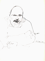 Author photo. Drawing by Ed Valk (1979)
