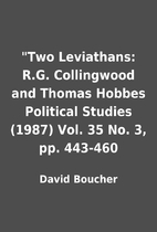 Two Leviathans: R.G. Collingwood and Thomas…