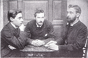 Author photo. Platinum print photographic portrait of Bowyer Nichols, J. W. Mackail, and H. C. Beeching, c. 1882