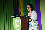 """Author photo. Linda Sue Park gives a presentaiton on the Children's Green Stage at the National Book Festival, August 31, 2019. Photo by David Rice/Library of Congress. By Library of Congress Life - 20190831DR0213.jpg, CC0, <a href=""""https://commons.wikimedia.org/w/index.php?curid=82899176"""" rel=""""nofollow"""" target=""""_top"""">https://commons.wikimedia.org/w/index.php?curid=82899176</a>"""