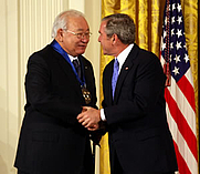 Author photo. Kiowa writer and visual artist N. Scott Momaday receiving the National Medal of Arts from US President George W. Bush in 2007. By NEA photographer Michael Stewart - Press release, National Endowment for the Arts., Public Domain, <a href=&quot;https://commons.wikimedia.org/w/index.php?curid=3208038&quot; rel=&quot;nofollow&quot; target=&quot;_top&quot;>https://commons.wikimedia.org/w/index.php?curid=3208038</a>