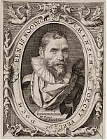 Author photo. Engraving after portrait by Hendrick Goltzius.