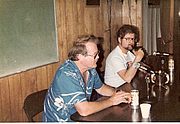 Author photo. Jerry Pournelle and Larry Niven at the LASFS Clubhouse May 1, 1981 or 1982, photo by Dik Daniels