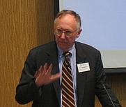 "Author photo. Jack Dangermond speaking at the ""Harvard Returns to Geography"" meeting on May 5, 2006. [source: Jim Harper]"