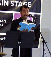 Author photo. Reading aloud at the Brooklyn Book Festival 2009, photo by Lampbane