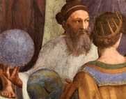 """Author photo. Pietro Cardinal Bembo as Zoroaster, detail from """"The School of Athens"""" by Rafael, 1509-10."""
