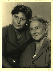 Author photo. Emmy Goldacker (left) with her mother, shortly after her return to Germany, September 1955.